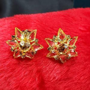 Accessories - 2 for $25 Vintage goldtone goldstone earrings